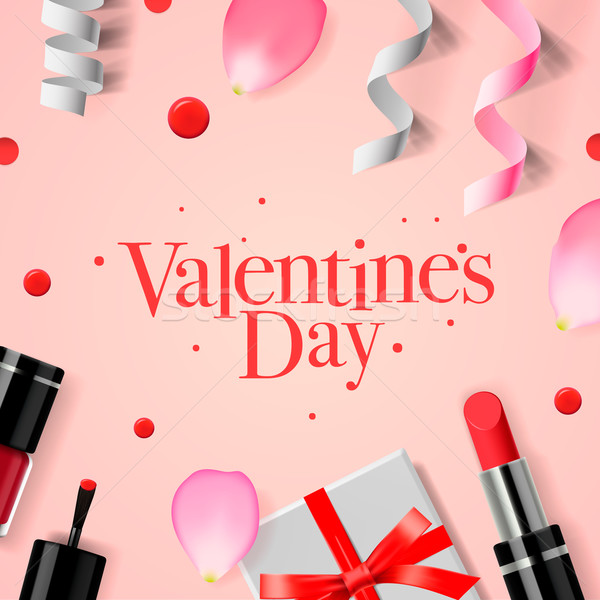 Valentines Day greeting card with gift box, cosmetics, lipstick, nail, and rose flower petals, vecto Stock photo © ikopylov
