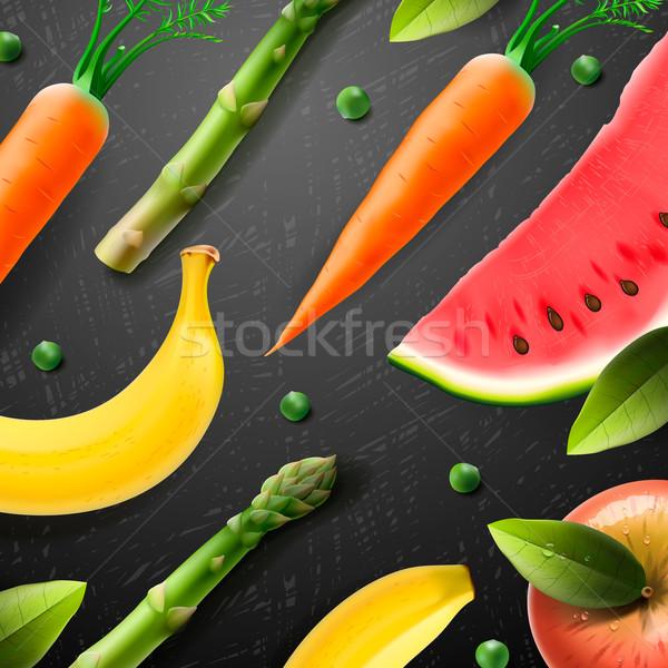 Cibo vegetariano pattern frutta verdura mela salute Foto d'archivio © ikopylov