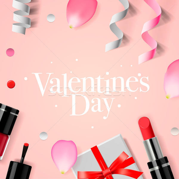Valentines Day background with gift box, cosmetics, lipstick, nail, and rose flower petals, vector i Stock photo © ikopylov