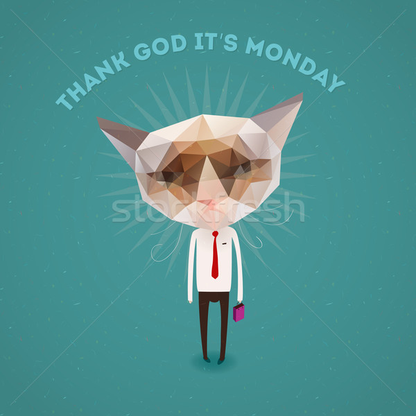 Funny sad cat - thank Got it's monday Stock photo © ikopylov