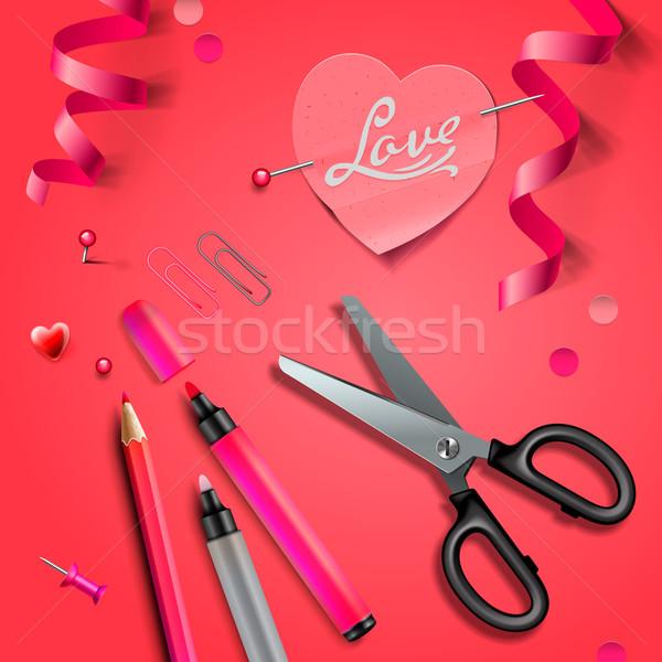 Set Of Happy Valentine's Day art craft objects Stock photo © ikopylov
