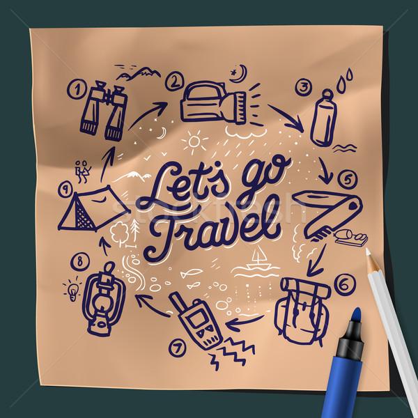 Utazás kaland motiváció természetjáró hátizsák terep Stock fotó © ikopylov