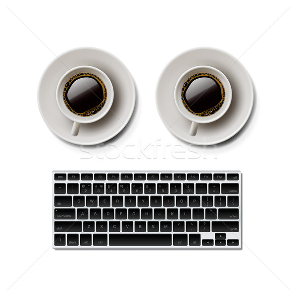 Blogging iscritto sito tastiera due coppe Foto d'archivio © ikopylov
