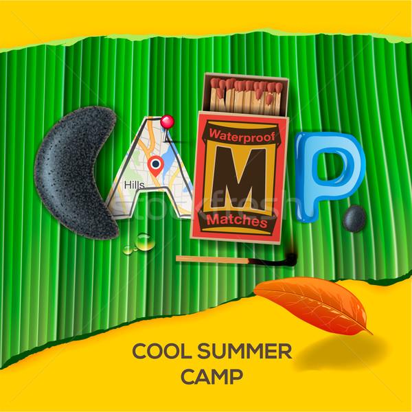 Yaz kampı poster vektör eps10 örnek ağaç Stok fotoğraf © ikopylov