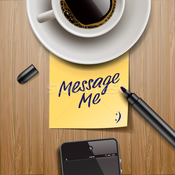 Stick note with marker, coffee cup and tablet Stock photo © ikopylov