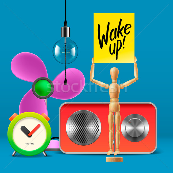 Wake up. Workspace mock up with analog alarm clock, sound system, fan, wooden mannequin Stock photo © ikopylov