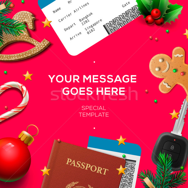 Stock photo: Winter holiday, Christmas travel template