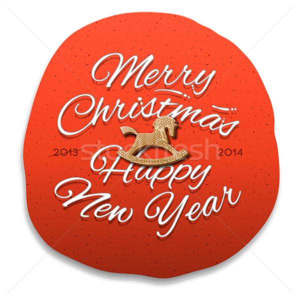 陽気な クリスマス 明けましておめでとうございます グリーティングカード 抽象的な 馬 ストックフォト © ikopylov