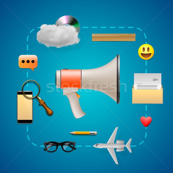 Digitale marketing spreker iconen business Stockfoto © ikopylov