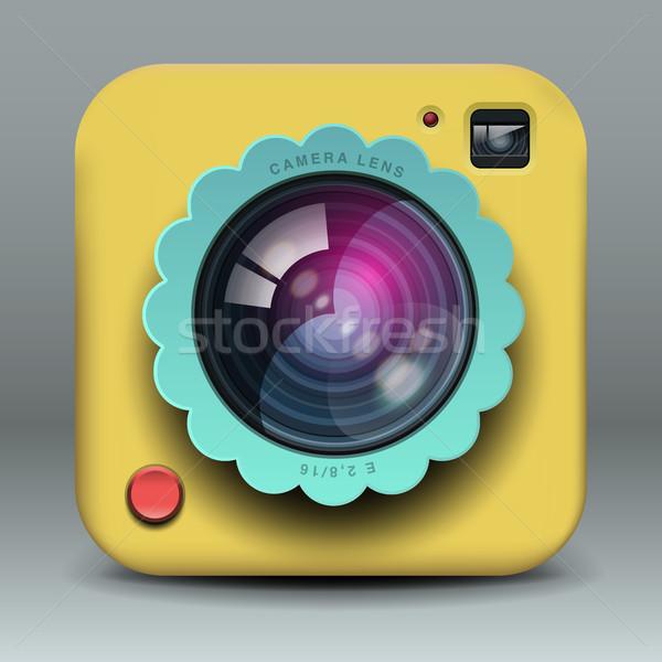 Foto d'archivio: App · design · giallo · foto · fotocamera · icona