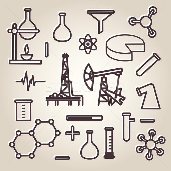 Black line minimalistic science icons set Stock photo © ikopylov