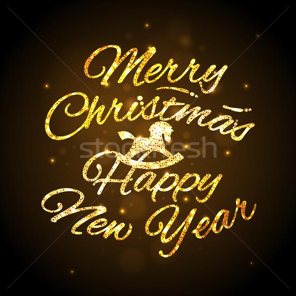 Joyeux Noël happy new year carte de vœux résumé cheval Photo stock © ikopylov