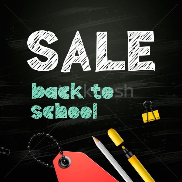 Back to school SALE design on blackboard background, vector illustration. Stock photo © ikopylov