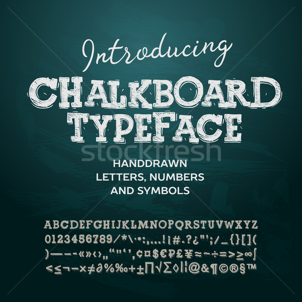 Chalkboard typeface, letters and numbers, vector illustration. Stock photo © ikopylov