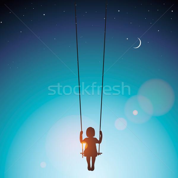 Dziewczynka huśtawka wektora eps 10 ilustracja Zdjęcia stock © ikopylov