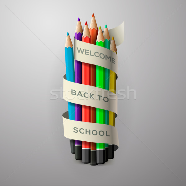 Colorful pencil crayons with text Back to school on ribbon Stock photo © ikopylov