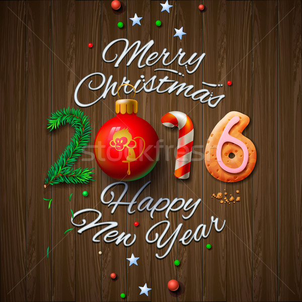 Merry Christmas 2016 greeting card  Stock photo © ikopylov