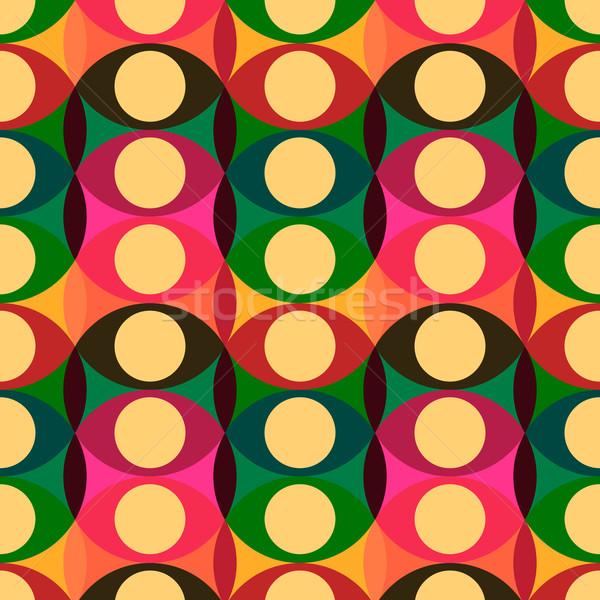 Sin costura rojo amarillo círculos patrón geométrico Foto stock © ikopylov