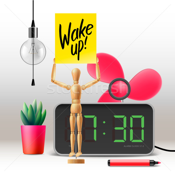 Wake up. Workspace mock up with digital alarm clock Stock photo © ikopylov