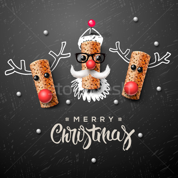 Stock photo: Christmas characters, Santa Claus and reindeer