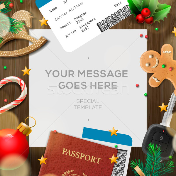 Winter holiday, Christmas travel template Stock photo © ikopylov