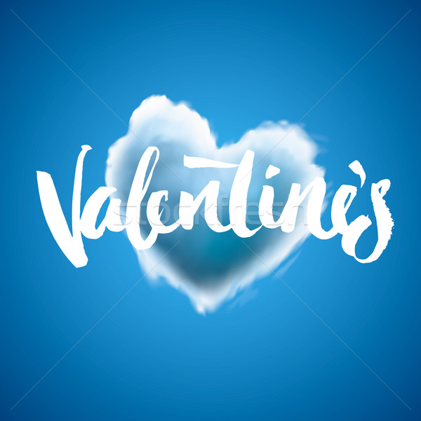 Beautiful heart cloud love for Valentine's day, greeting card, vector illustration. Stock photo © ikopylov
