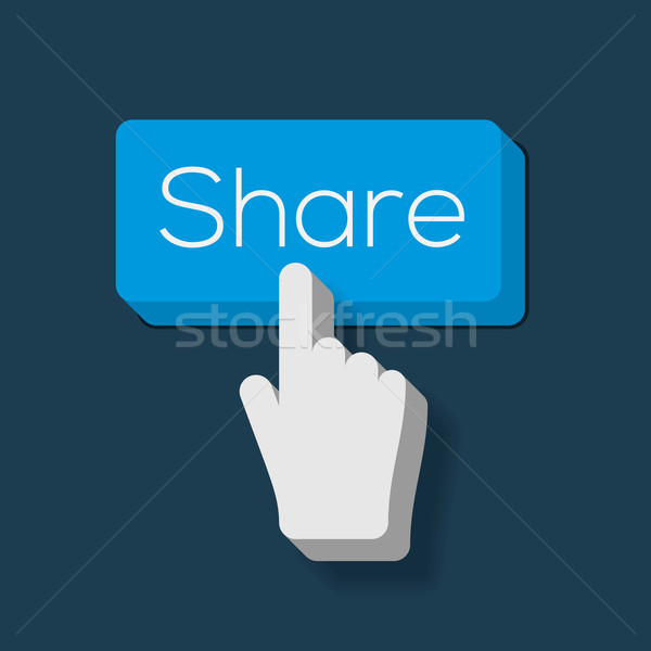 Share Button with Hand Shaped Cursor Stock photo © ikopylov