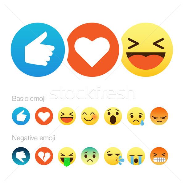 Set of cute smiley emoticons, flat design Stock photo © ikopylov