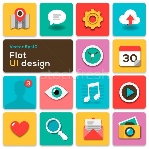 Flat UI design trend set icons Stock photo © ikopylov