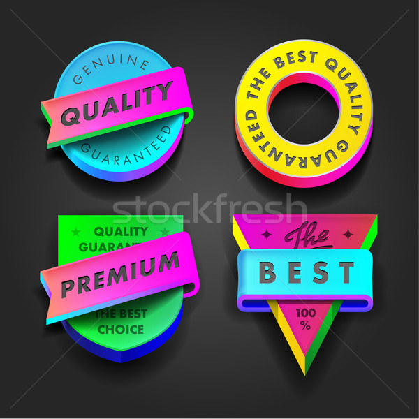 Premium quality and guarantee multicolored labels Stock photo © ikopylov
