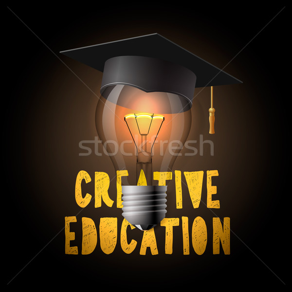 Creative education design, bulb with mortarboard Stock photo © ikopylov
