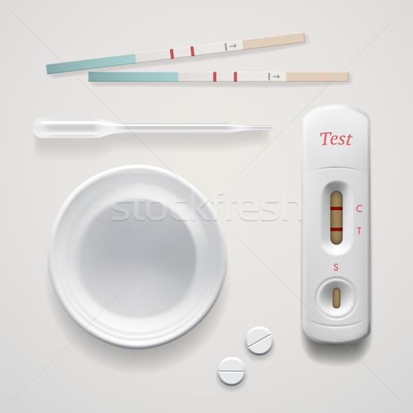 Pozytywny ciąży zestaw odizolowany biały wektora Zdjęcia stock © ikopylov