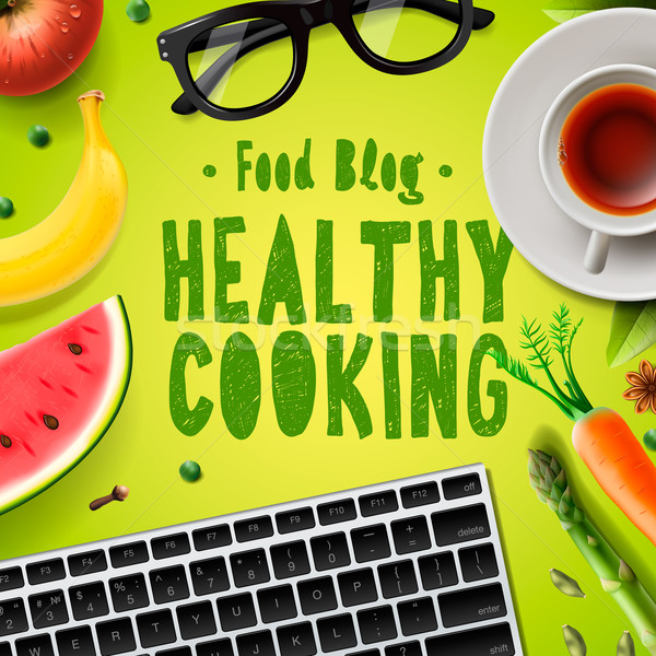 Food blog, healthy cooking recipes Stock photo © ikopylov