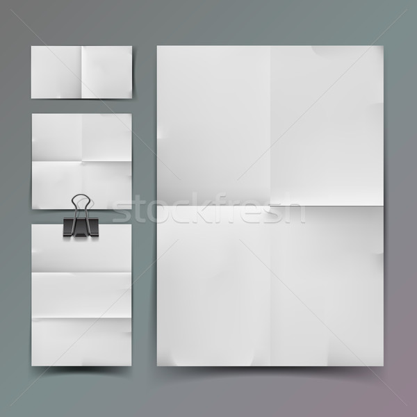 White folded paper set and paperclip Stock photo © ikopylov