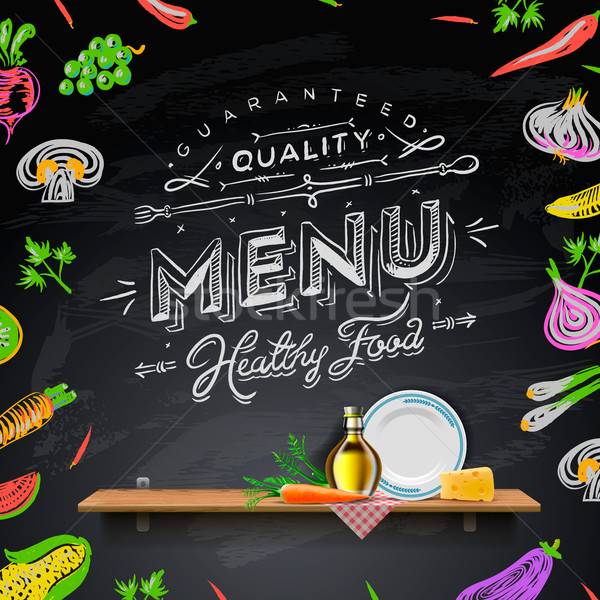 Vector set of design elements for the menu on the chalkboard Stock photo © ikopylov