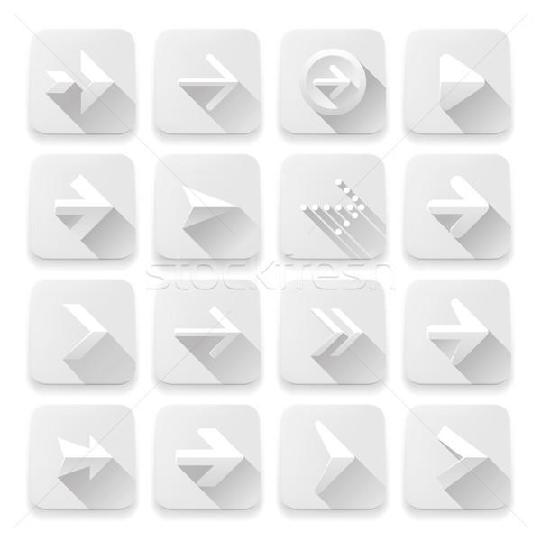 Foto stock: Conjunto · ícones · branco · aplicativo · botões