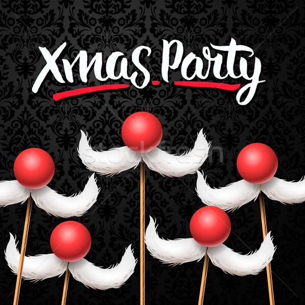 Office Christmas Party card, Santa moustache Stock photo © ikopylov