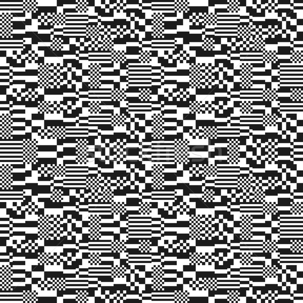 Glitch abstract seamless pattern, digital image data distortion, black and white  background, vector Stock photo © ikopylov