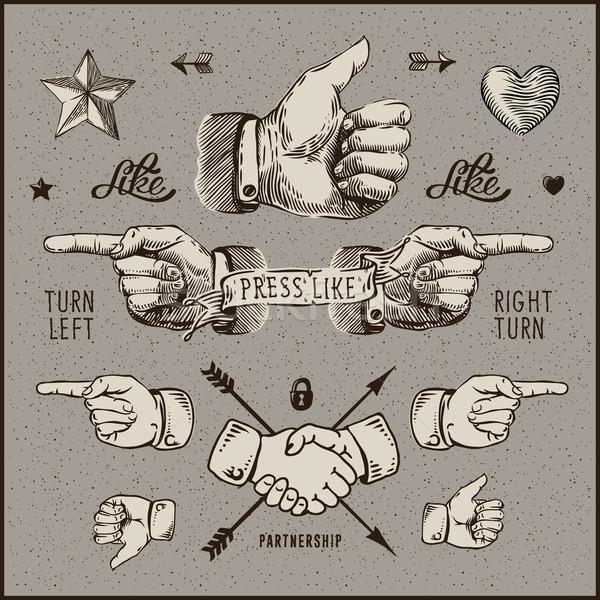 Сток-фото: Элементы · большой · палец · руки · вверх · рукопожатие · дизайна · Vintage