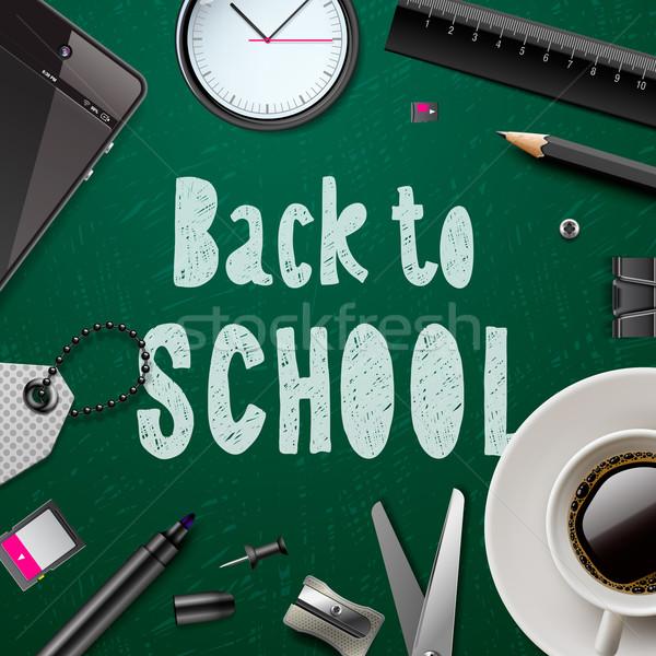 Vissza az iskolába sablon irodaszerek zöld üzlet iroda Stock fotó © ikopylov