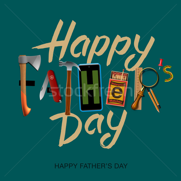 Happy fathers day card, vintage retro design Stock photo © ikopylov