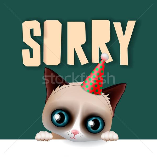 Cute grumpy cat apologize sorry card Stock photo © ikopylov