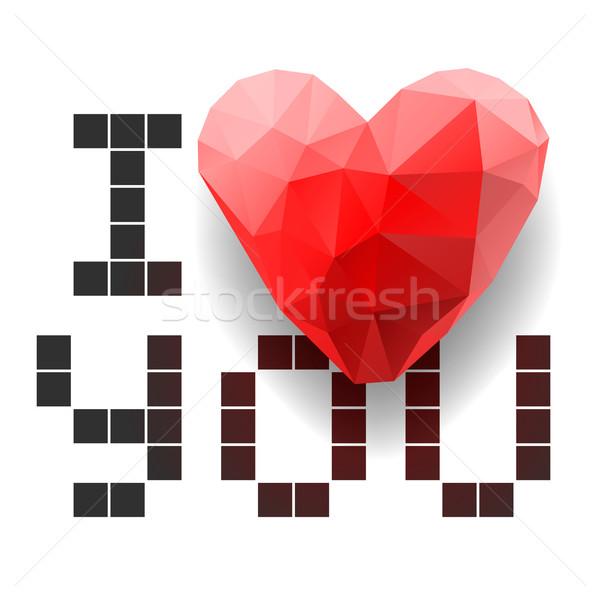 Pixel card I Love You with polygonal heart Stock photo © ikopylov