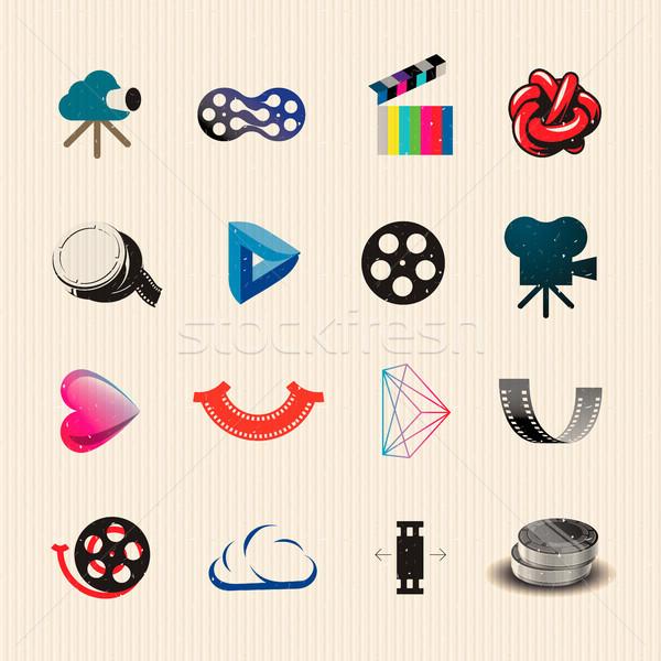Stock fotó: Film · ikon · gyűjtemény · színes · ikon · szett · vektor · eps10