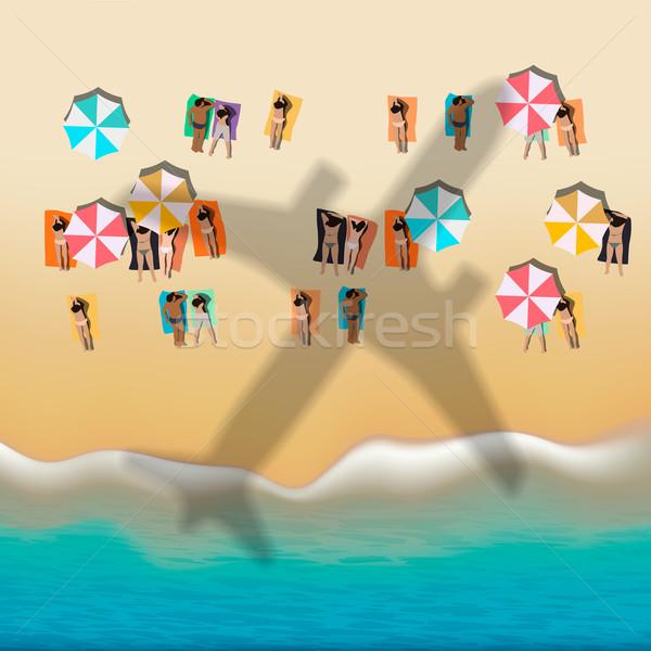 Verano playa tomar el sol personas vector eps10 Foto stock © ikopylov