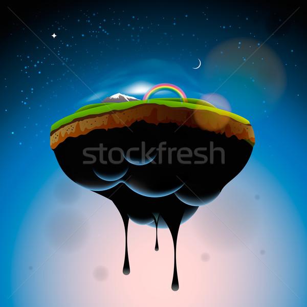 Darab föld sziget levegő vektor eps10 Stock fotó © ikopylov