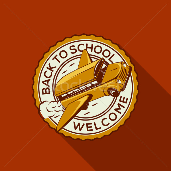 Welcome Back to school label with schoolbus Stock photo © ikopylov