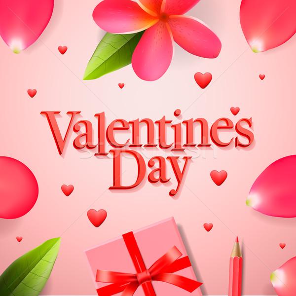 Valentin nap ajándék vörös szalag rózsa virág szirmok Stock fotó © ikopylov