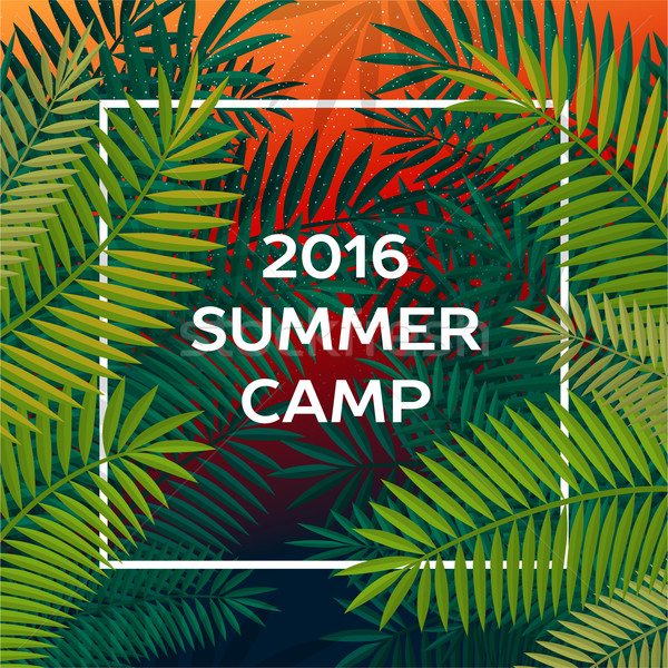 Summer themed camp and summer vacation poster Stock photo © ikopylov