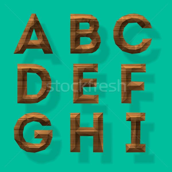 Wooden polygonal alphabet, part 1 Stock photo © ikopylov